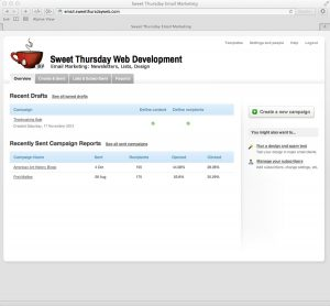 Sweet Thursday Email Marketing: Campaign Drafts and reports