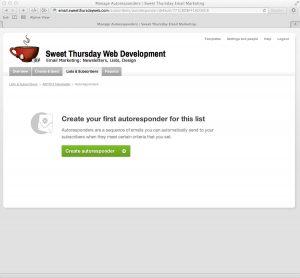 Sweet Thursday Email Marketing: Create Auto responder