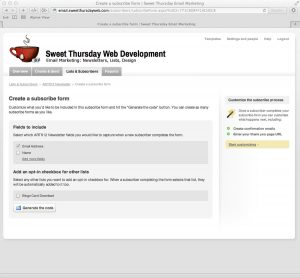 Sweet Thursday Email Marketing: Create a subscribe form
