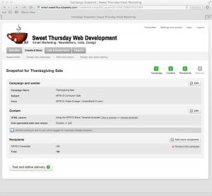 Sweet Thursday Email Marketing: Working on a Campaign