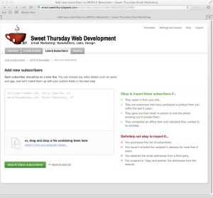 Sweet Thursday Email Marketing: Adding emails to lists