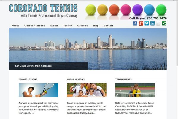 Coronado Tennis Wordpress Website