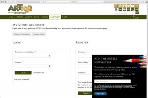 ARTK12 Store account page