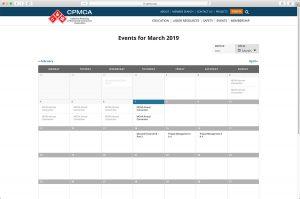CPMCA Calendar page