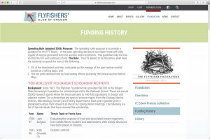 Flyfishers Club of Oregon Funding history page