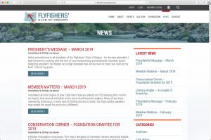Flyfishers Club of Oregon News page
