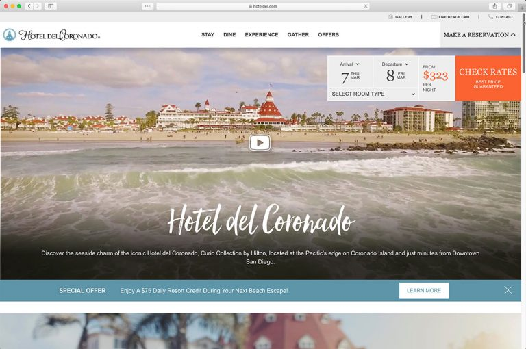 The Hotel del Coronado Home Page