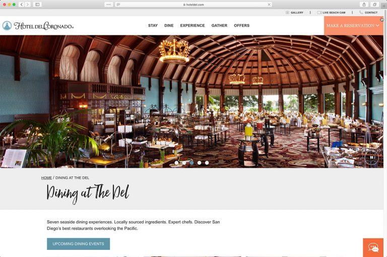 The Hotel del Coronado Dining Page