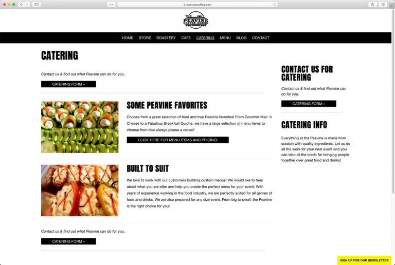 Peavine Coffee Shop Catering Page (located in Prescott Valley, Arizona)