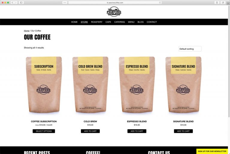 Peavine Coffee Shop Store (located in Prescott Valley, Arizona)Page