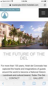 Hotel del Coronado Master Plan: Mobile Home Page