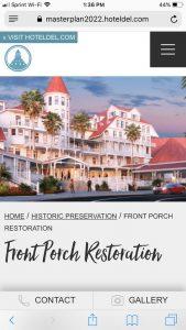 Hotel del Coronado Master Plan: Mobile Front Porch Restoration