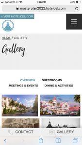 Hotel del Coronado Master Plan: Mobile Gallery Page