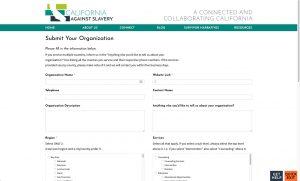 California Against Slavery: Organization Submit Form