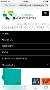 California Against Slavery Mobile: Mobile Navigation