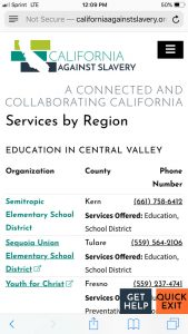 California Against Slavery Mobile: Services by Region