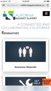 California Against Slavery Mobile: Resources page