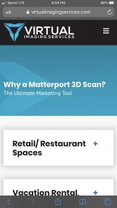 Virtual Imaging Services Website: Mobile Matterport Page