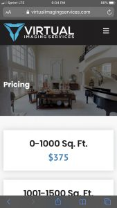 Virtual Imaging Services Website: Mobile Pricing Page