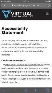Virtual Imaging Services Website: Mobile Accessibility Statement